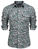 JINIDU Men's Floral Dress Shirt Slim Fit Casual Paisley Printed Button Down Shirts Green