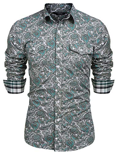 COOFANDY Mens Floral Dress Shirt Slim Fit Casual Paisley Printed Shirt Long Sleeve Button Down Shirts,Green,XX-Large - Mens Print Western Shirt