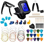 Qoosea 61 PCS Guitar Accessories Kit, Guitar Tools Set Including Guitar Picks, Capo, Tuner, Guitar Strings, 3