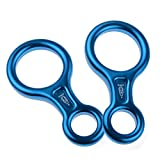 AYAMAYA Climbing Gear 8 Descender [2 Pack], 35KN/3500kg Rescue Figure 8 Descender Rigging Plate High Strength Aluminum Rappel Device Equipment for Rappelling Belaying Rock Climbing,Blue