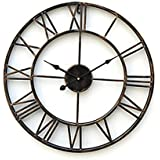 "Wall Clock Vintage Style, Wall Clock Roman Numerals 20"" Country Style Metal Wall Clock Vintage Decorative (1)"