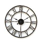 Wall Clock Vintage Style, Wall Clock Roman Numerals 20'' Country Style Metal Wall Clock Vintage Decorative (2)