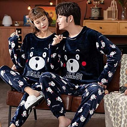 Pareja pijamas de invierno ropa de dormir de la franela de ...