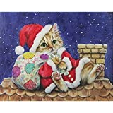 Christmas 5D Diamond Painting Tool Full Drill Diamond Paint Cartoon Christmas Cat, Vertily Paintings DIY for Art Wall Home Decor,Crystal Prime Diamond Painting Kit s for Kids - 30×40cm