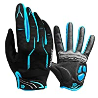 Cycling Gloves Full Finger - CoolChange Winter Bike Gloves Transparent Gel Padded Touch Screen &SBR Shockproof Road Mountain Bicycle Gloves For Men&Women