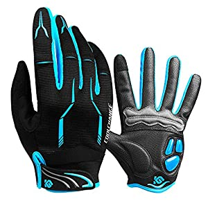 Cycling Gloves Full Finger Gel Padded Mountain Biking Gloves Touch Screen Bicycle Gloves for Men & Women M (6.69''-7.48'')