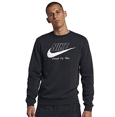 76cfc9323 Amazon.com: Nike Sportswear Club Fleece Crew Black/White/White AA6403-010:  Clothing