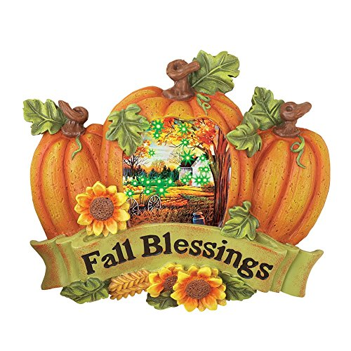 Fall Blessings Hand Painted Pumpkin Wall Art with Color Changing Fiber Optics
