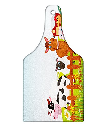 Lunarable Animal Cutting Board, Cute Farm Creatures with Cow Horse Goat Pig and Chicken by The Fences Kids Cartoon, Decorative Tempered Glass Cutting and Serving Board, Wine Bottle Shape, Multicolor by Lunarable