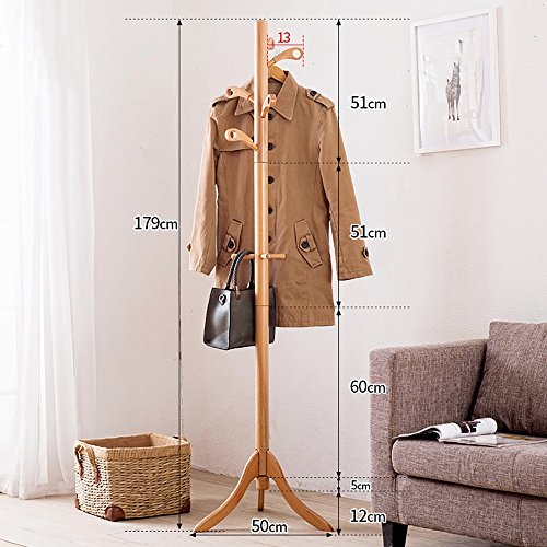 LQQGXLModern minimalist coat rack, Simple solid wood coat rack floor home bedroom hanger simple creative storage rack (Color : 1#) by LQQGXL