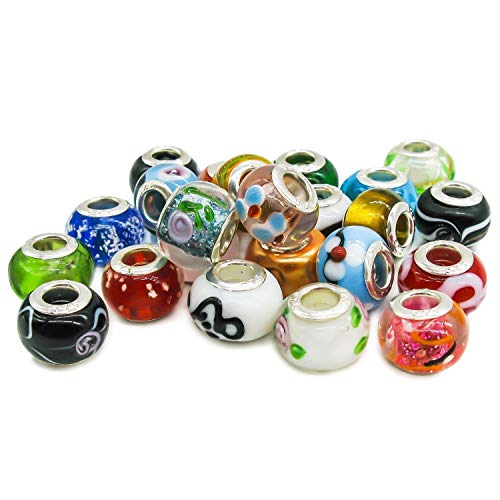 XNJHMS 50 Pcs Silver Lampwork Murano Glass Beads to Fit Pandora Style Charm Bracelets