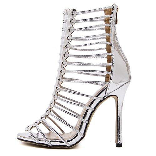 ZPL Womens Sandals Peep Toe Strappy Platform Stiletto Summer Ladies High Heel Black Roman Shoes Evening Prom Party silver UoS2FArw