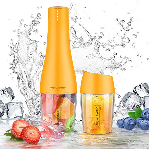 MICHELANGENLO Portable Blender for Shakes and Smoothies, Single Serve Blender Mini Smoothie Blender with Travel Cup and Lids, Travel Blender Cordless Juice Mixer Maker -Orange