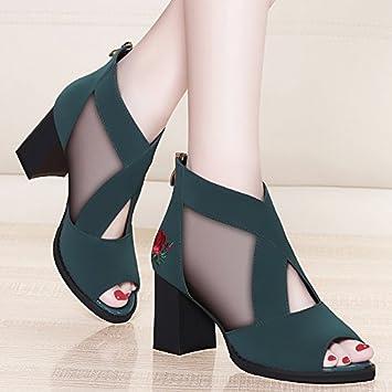 4614060b659dd3 Jqdyl High Heels Frühling und Sommer neue hochhackigen Fisch Mund Schuhe  Mesh einzelne Schuhe mit wasserdichten