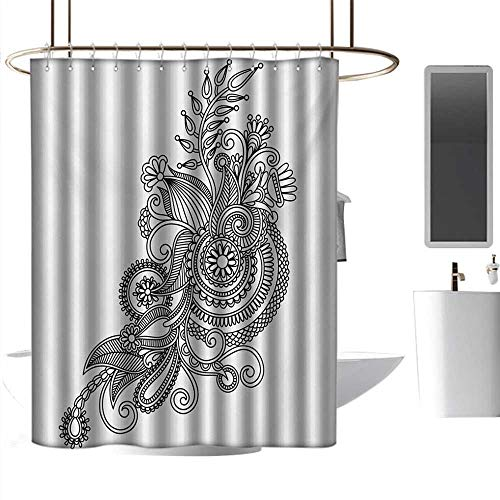 coolteey Shower Curtains for Bathroom Sunset Henna,Hand Drawn Ornamental Line Art Traditional Ukrainian Style European Culture Inspired,Black White,W72 x L96,Shower Curtain for Shower stall