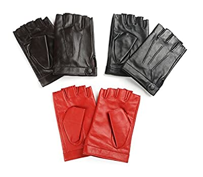 Ambesi Women's Traditional Half Finger Nappa Leahter Driving Gloves