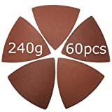 XXGO 60 Pcs 240 Grits 3-1/8 Inch Triangular Hook & Loop Abrasive Multitool Sandpaper for Wood Sanding Fit 3-1/8 Inch Oscillating Multi Tool Sanding Pads