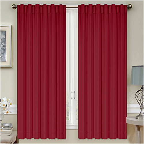 "Mellanni Thermal Insulated Blackout Curtains - 2 Panels - Window Treatments/Drapes for Bedroom, Living Room with Pole Top, 7 Back Loops and 2 Tiebacks (2 Panels, 52"" x 63"" Each, Burgundy)"