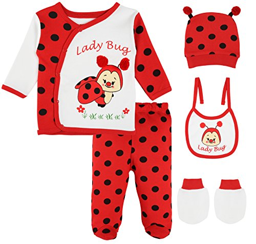 Lilax Baby Girl 5 Piece Fun Unique Soft Cotton Top, Pant, Cap, Mittens and Bib Layette Gift Set 0-3M Lady (Halloween Bugs Me)