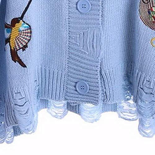 Breasted Maglia Fashion Casual Sciolto Blau Giaccone Coat Cappotto Ricamo A Lunga Casuale Taglie Strappato Donne Manica Single Hipster Autunno Forti Donna Elegante Uccello Giacca H657g