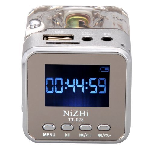 30gb Portable Video (Digital Music Speaker,GenLed TT-028 MP3 Mini Digital Portable Music Player Micro SD USB FM Radio (Silver))