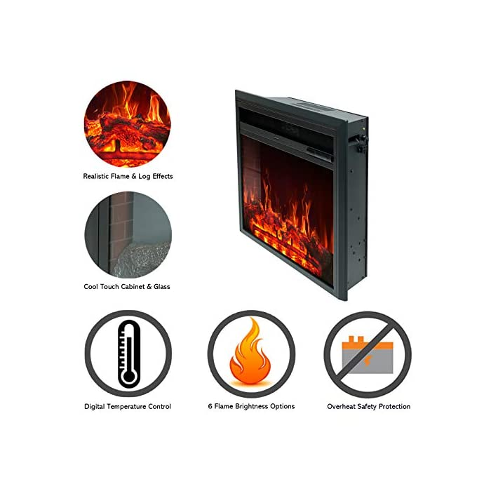 51whDizAjrL CONTROL REMOTO INFRARROJO con FUNCIÓN DE TEMPORIZADOR: lo mantiene cómodo y cómodo sin esfuerzo. El calor sopla desde la ventilación frontal que deja el calentador frío al tacto. LLAMA REALIZADA Y REGISTRO ARDIENTE - LED de bajo consumo añade un ambiente cálido y acogedor a cualquier habitación con o sin calor - Incluye niveles de brillo ajustables TERMOSTATO DIGITAL: con ajustes de calor alto y bajo más control de temperatura variable de 15°C a 30°C para una comodidad total