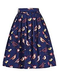 GRACE KARIN Women's Vintage Swing Skirts A-Line Dress with Pocket