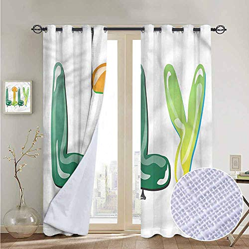 NUOMANAN Pattern Curtains Lily,Common Girl Name Balloons,Living Room and Bedroom Multicolor Printed Curtain Sets 84
