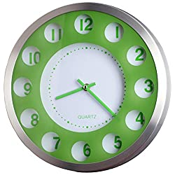 12-inch New Designed Modern AL. Metallic Colorful Wall Clock Quiet Large Decorative Living Room Clock (WM0526 Green)