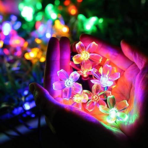 Popertr Solarschnur beleuchtet im Freien 2 Pack, 7m 50LED Kirschblüten-Fee-Schnur-Licht-wasserdichte Garten Landschaft Beleuchtung 2 Modi Garten Rasen Weihnachtsdekoration Schnur-Lichter
