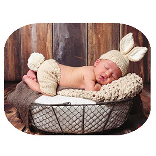 Coberllus Newborn Baby Photography Prop Boy Girl Photo Shoot Outfits Crochet Knit Cute Christmas Bunny Hat Photo Props Easter Costume (Style Two+Radish), 0-3 months by Coberllus (Image #1)