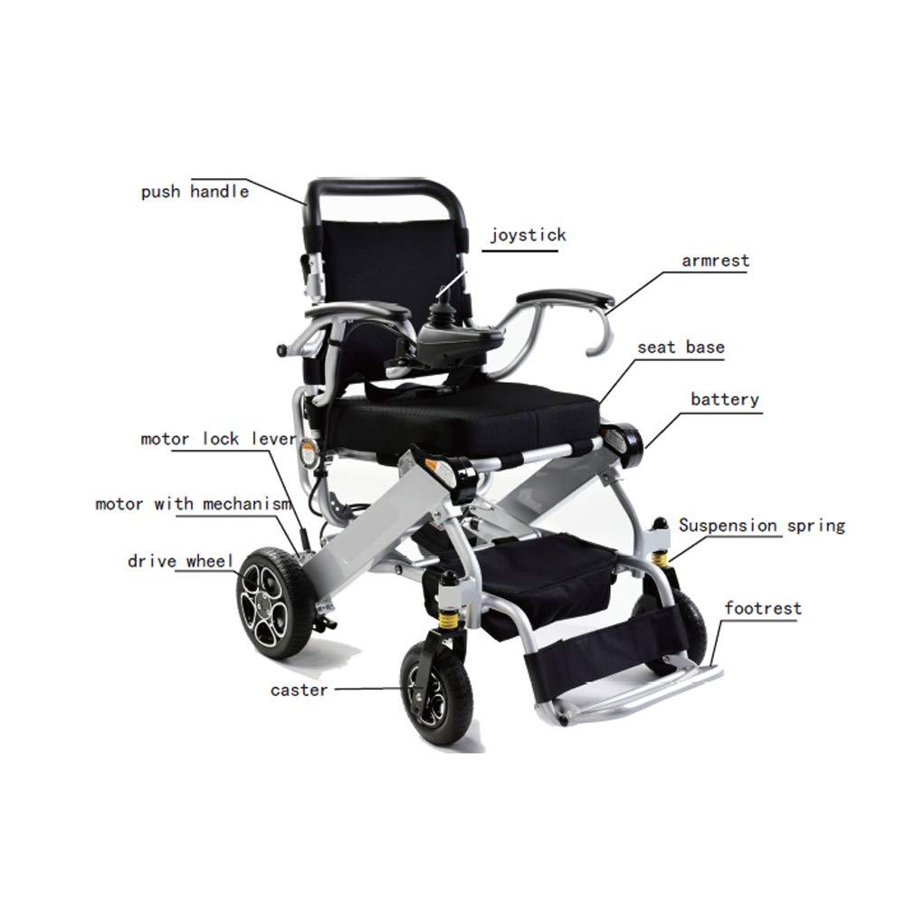 Sillas De Ruedas Eléctricas Con Poderoso Y Quiet Brushless Motors, Marco De Aluminio Y Ligero Plegable Compacto Silla De Ruedas Mobility Aid: Amazon.es: ...