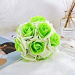 Wedding Bouquets Roses Bridal Bridesmaid Wedding Hand Bouquet Artificial Fake Flowers with Crystal Pearl Silk Artificial Rose Flowers for Wedding Party and Church (18cm24cm,Pure-White)