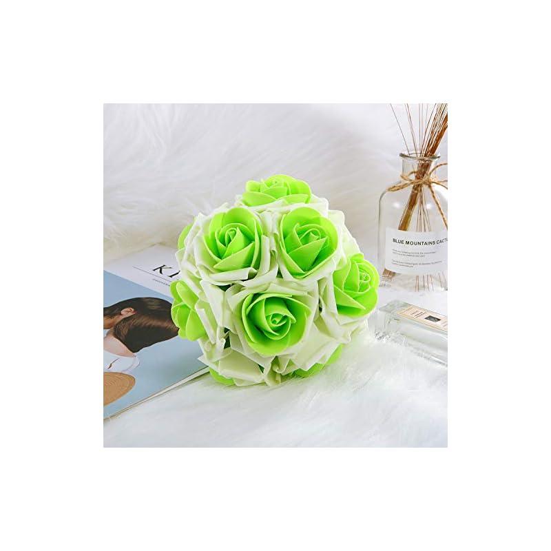 silk flower arrangements anndason 50 pcs artificial roses flowers artificial foam roses fake roses for home decorations wedding bouquets party (cream white + green)