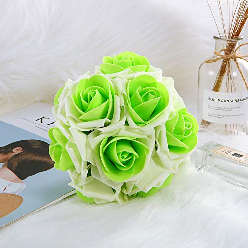 Anndason 50 PCS Artificial Roses Flowers Artificial Foam Roses Fake Roses for Home Decorations Wedding Bouquets Party (Cream White + Green)