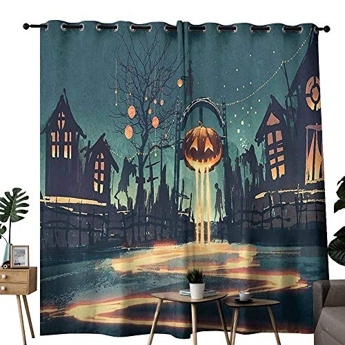 Fantasy Art House Decor Bedroom Balcony Living Room Curtain Halloween Theme Night Pumpkin and Haunted House Ghost Town Artful for Living, Dining, Bedroom (Pair) W96 x L84 Teal Orange
