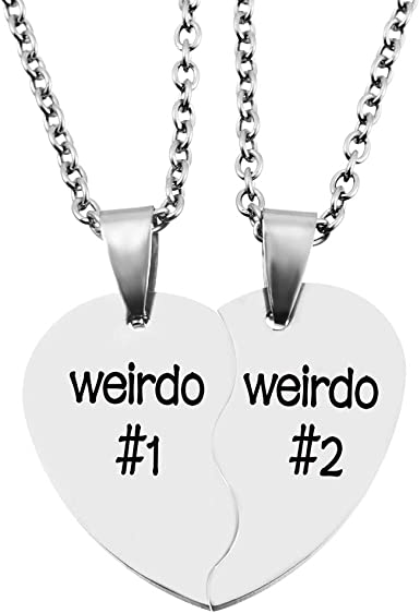 Amazon Com Mjartoria Best Friend Necklaces Bff Necklace For 2 Friendship Valentines Day Gifts Split Heart Necklace Weirdo 1 Weirdo 2 Best Friends Forever Pendant Set Clothing