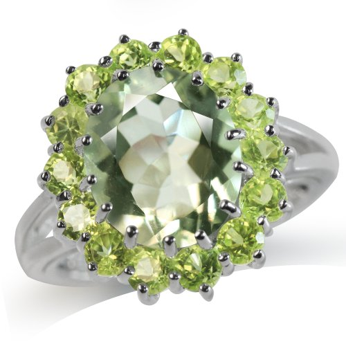 - 4.13ct. Natural Green Amethyst & Peridot White Gold Plated 925 Sterling Silver Cluster Cocktail Ring Size 8