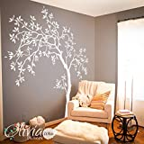 White Large Tree wall decal Tree Wall Decal Wall Mural Stickers Wall Decals Decor Nursery Tree and Birds Wall Art Tattoo Nature - NT022