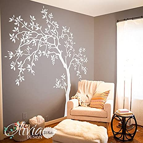 Amazon.com: White Large Tree wall decal Tree Wall Decal Wall Mural ...
