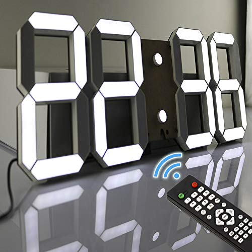 (Pinty Multi-Functional Remote Control Large LED Digital Wall Clock with Countdown Timer Temperature Date (Black Shell White Digital))