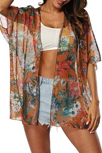 Adisputent Swimsuit Cover Ups for Women Mesh Beach Cover Ups Crochet Chiffon Tassel Bathing Suit Bikini Wear Coverups Dress (Orange Flower)