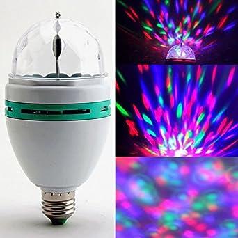 STARmoon E27 3W Colorful Rotating RGB 3 LED Spot Light Bulb Lamp for ...