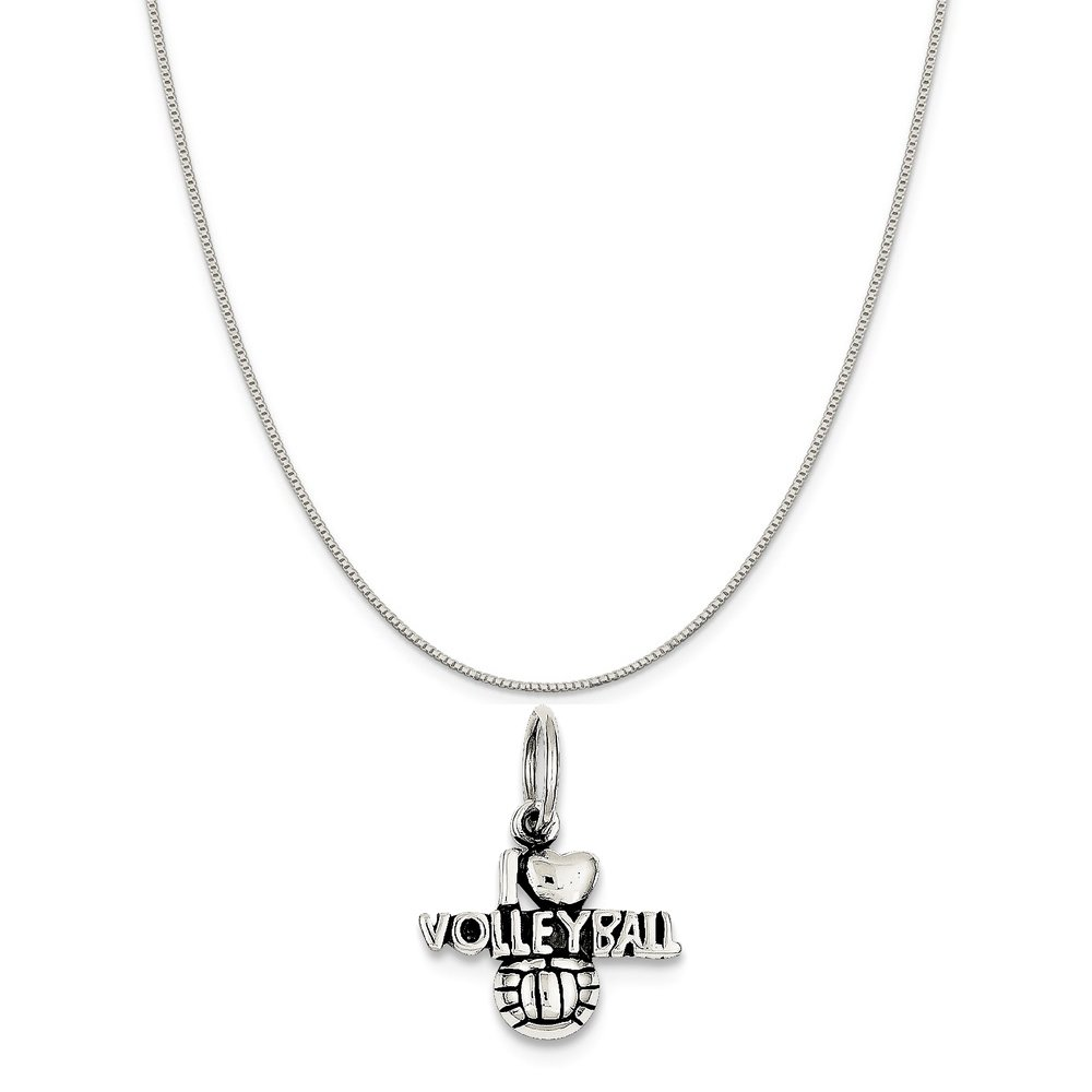 16-20 Mireval Sterling Silver 3D Enamel Basketball Charm on a Sterling Silver Chain Necklace