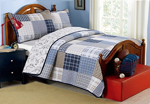 [Jurassic Check] 100% Hypoallergenic cotton 3 piece Plaid Quilt Set Bedroom Quilt Bedding King Size
