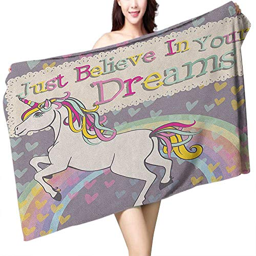 homecoco Sports Towel Teen Girls Unicorn Figure with