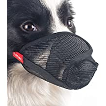 FOMATE Dog muzzle, Gentle mesh anti licking quickly fit long snout doggie mask mouth cover for postoperative recovery surgery operation