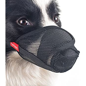 Dog muzzle, Gentle mesh anti licking quickly fit long snout doggie mask mouth cover for postoperative recovery surgery operation