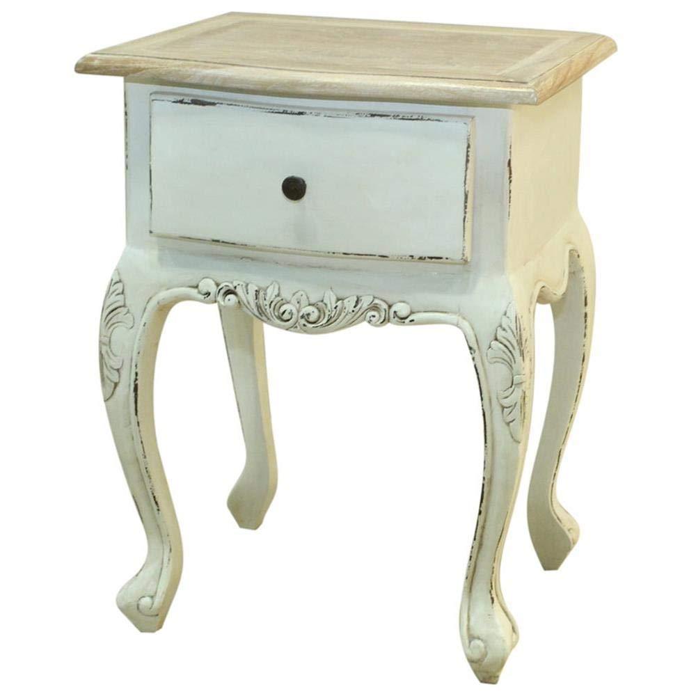 Etnicart - Comodino provenzale Shabby Chic bianco-45x60x40-LEGNO MASSELLO