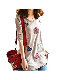 WSLCN Womens Grils Long T-Shirt Loose Fit Cute Floral Patch